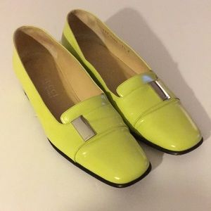 Gucci neon yellow leather loafers size 7.5b